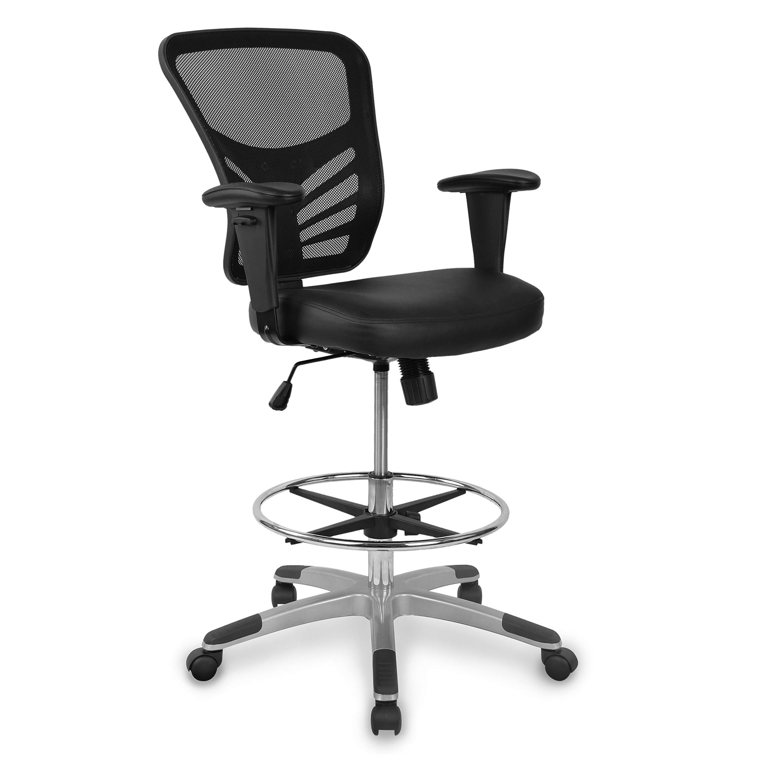 Poly and Bark Brighton Drafting Chair with Vegan Leather Seat in Black