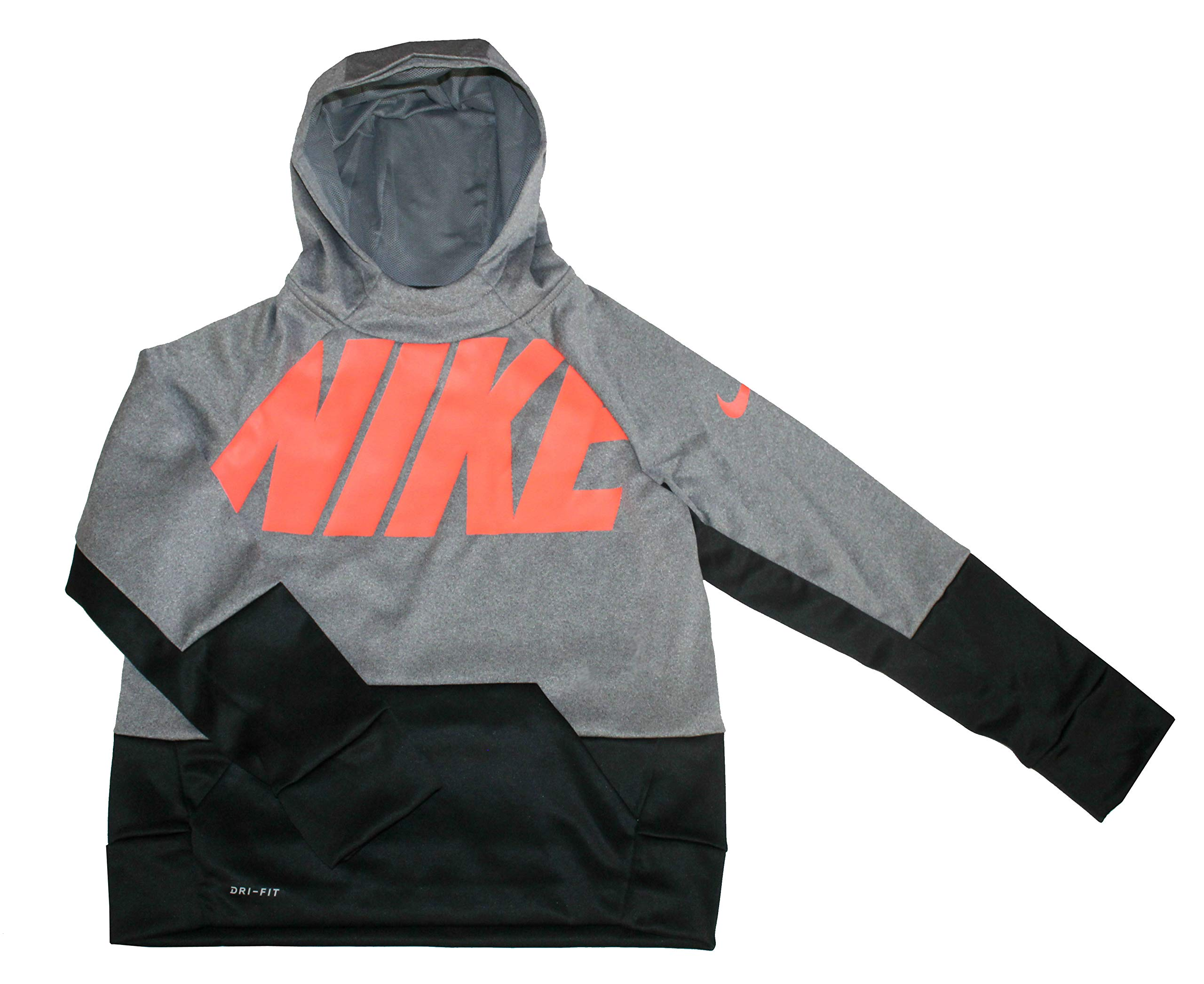 NIKE Youth Boys Therma Training Hoodie Athletic Pullover, Gray , M 10/12