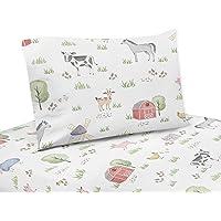 Sweet Jojo Designs Farm Animals Queen Sheet Set - 4 Piece Set - Watercolor Farmhouse Horse Cow Sheep Pig