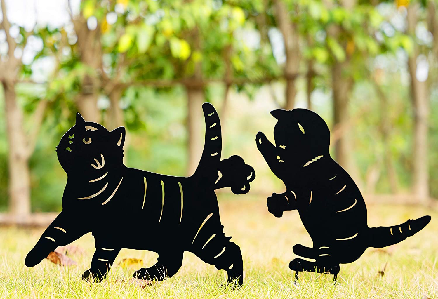 TT & MM Metal Animal Silhouette Yard Stake - Garden Decor Cat Kitten Shadow Stakes - Cat Combinations Set of 2 Yard Signs Outdoor Decor