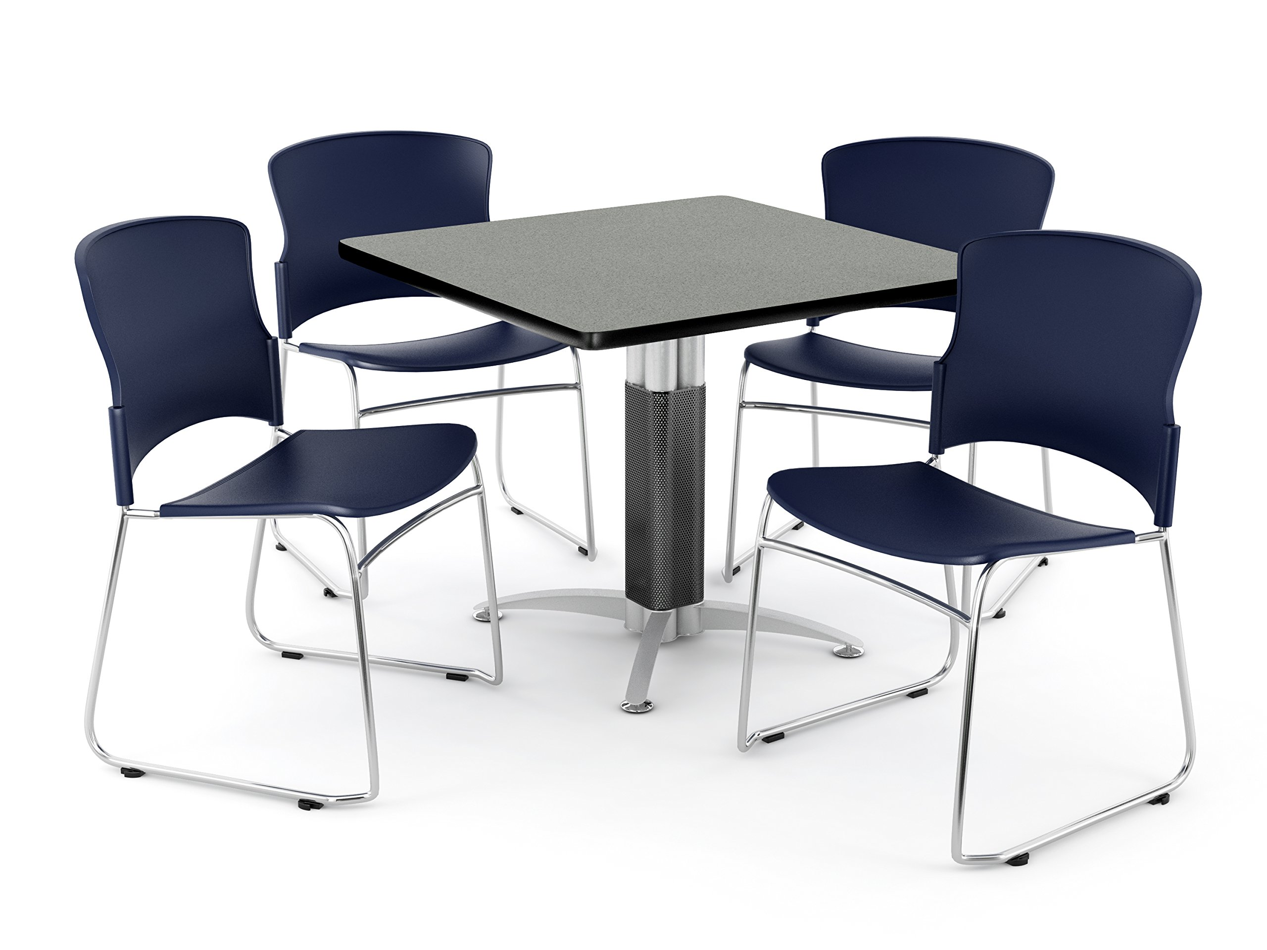 OFM Core Collection Breakroom Set, 36'' Square Metal Mesh Base Multi-Purpose Table in Gray Nebula, 4 Multi-use Plastic Stack Chairs in Navy (PKG-BRK-028-0008)