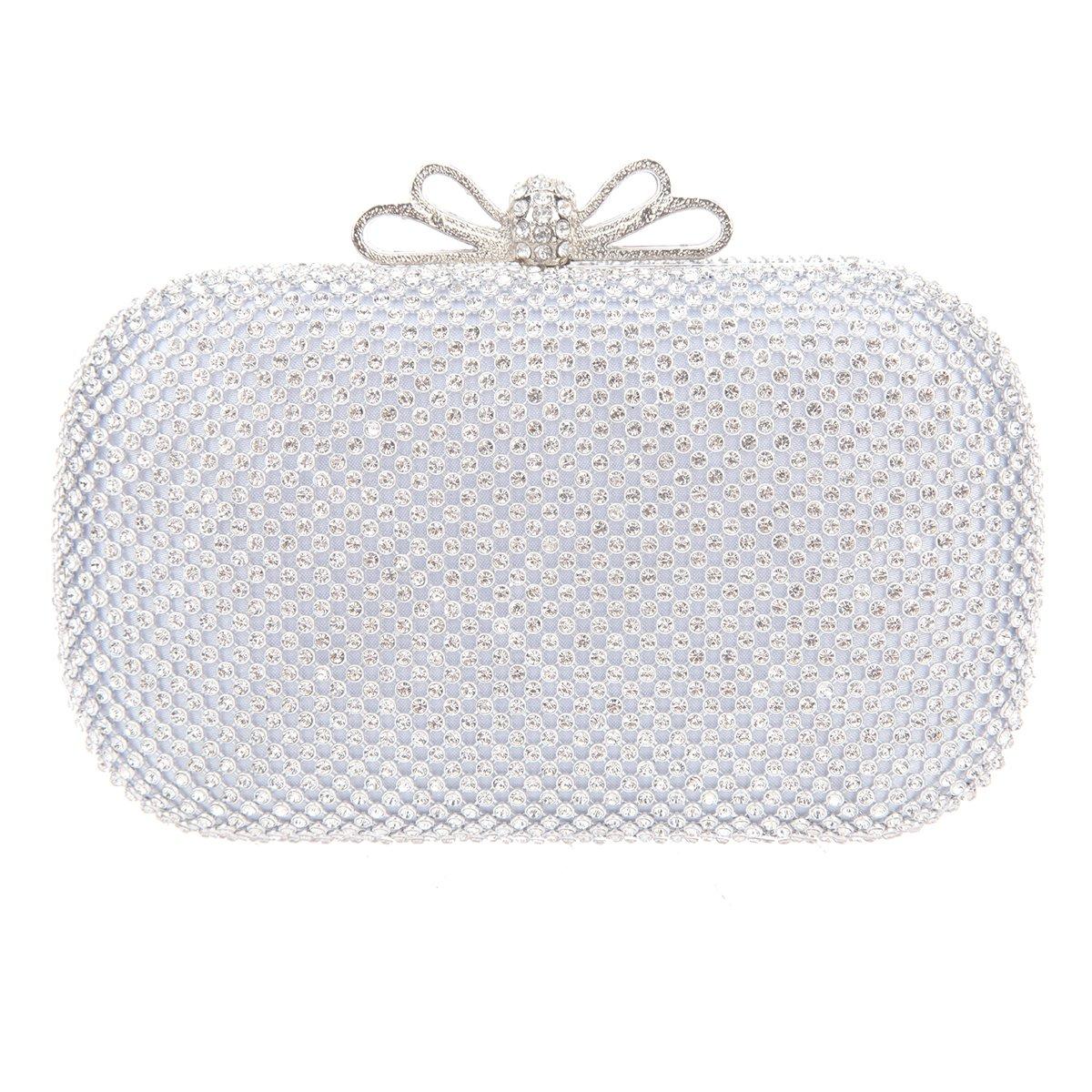 Bonjanvye Bow Purse for Girls Crystal Rhinestone Clutch Evening Bags Silver