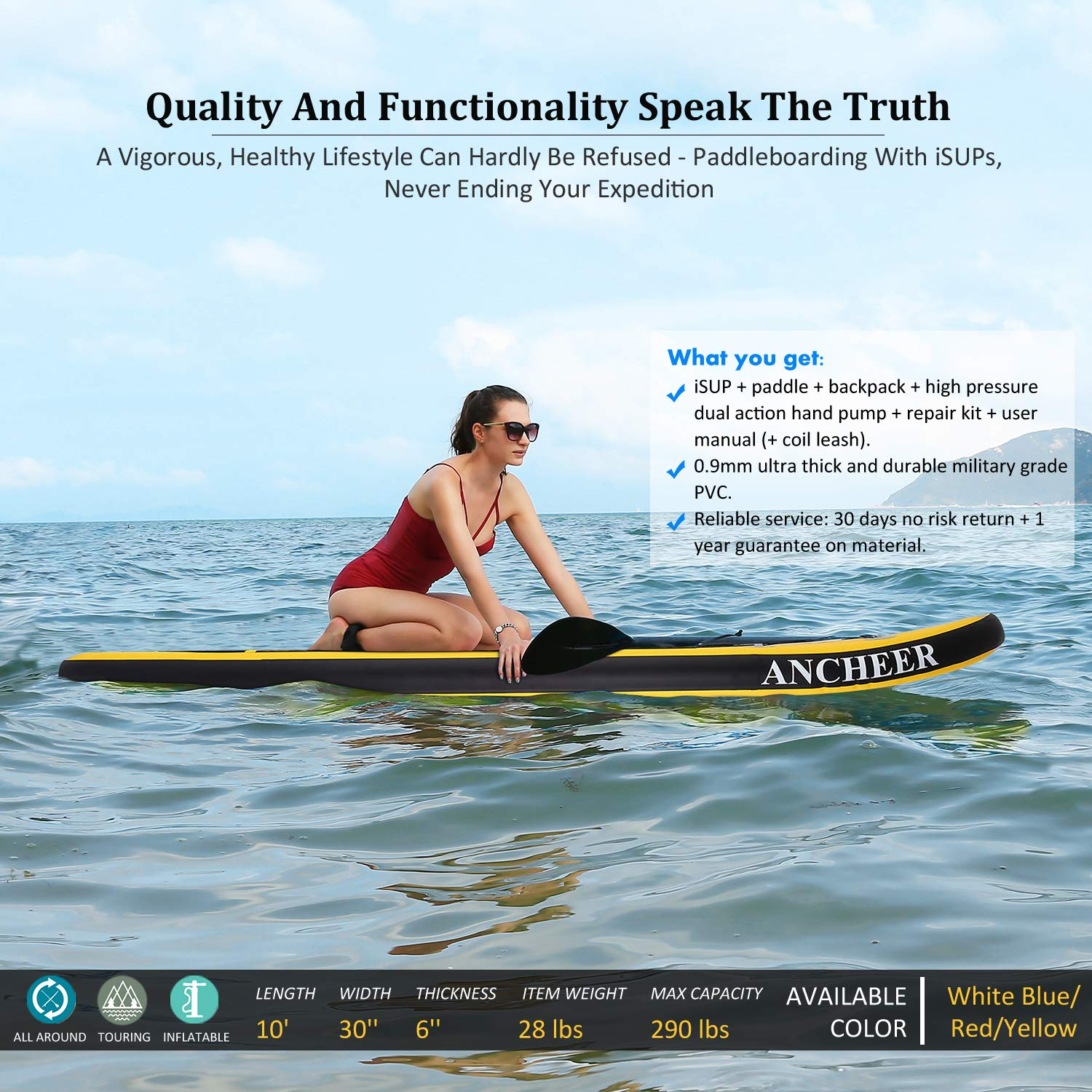 ANCHEER Inflatable Stand Up Paddle Board 10', Non-Slip Deck(6 Inches Thick), iSUP Boards Package w/Adjustable Paddle, Leash, Hand Pump and Backpack, Youth & Adult by ANCHEER (Image #2)