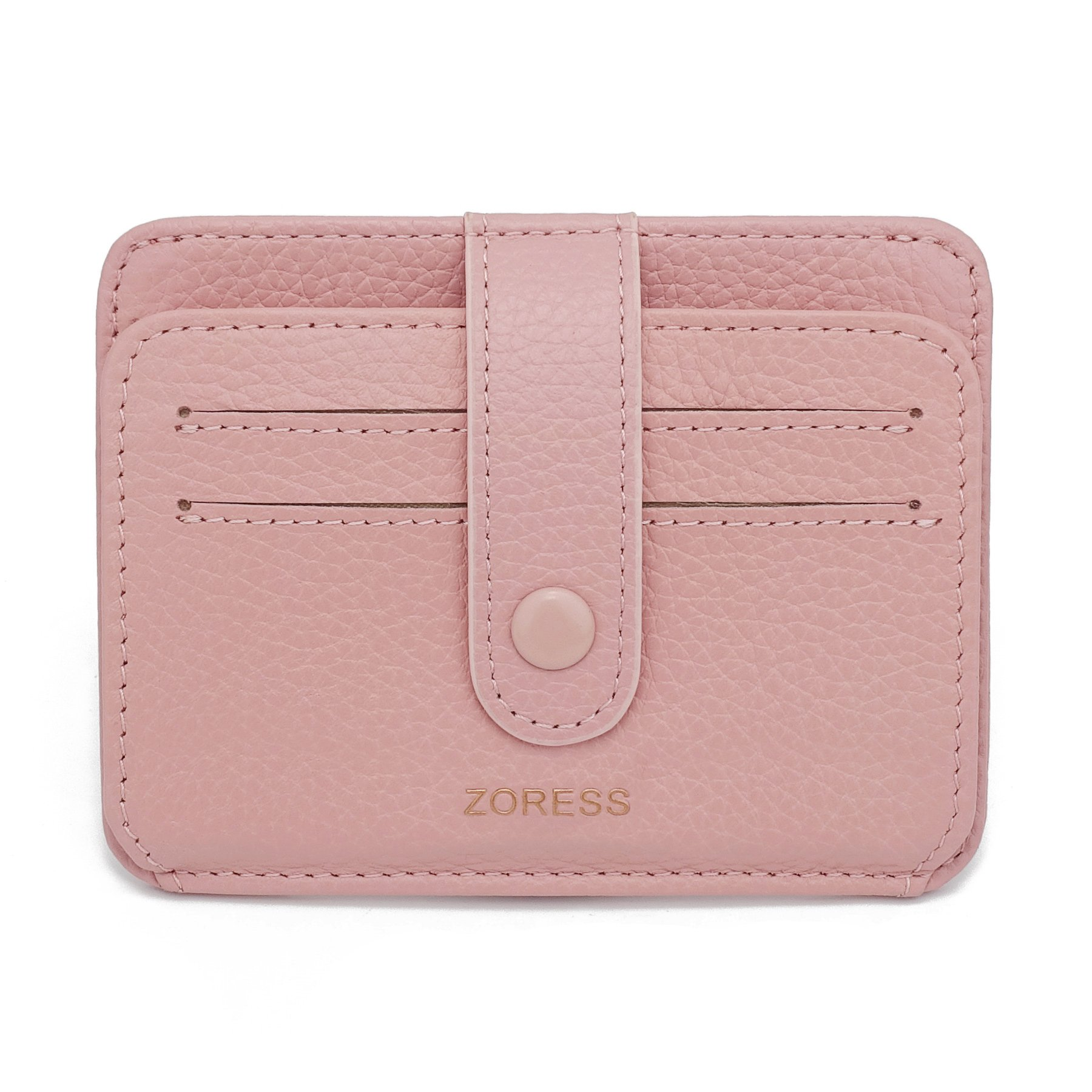 ZORESS Womens Leather RFID Blocking Slim Credit Card Case Holder Travel Front Pocket Wallet(Pink)