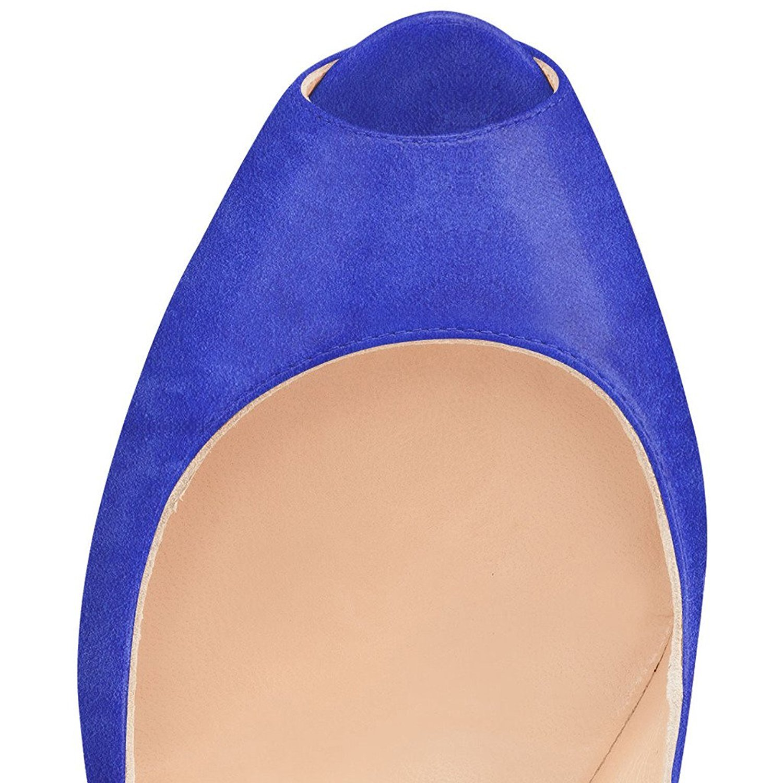 YDN Women Peep Toe Sky High Heels Platform Pumps Ankle Straps Shoes Metal Stilettos B01CEIHP6W 8 M US Blue