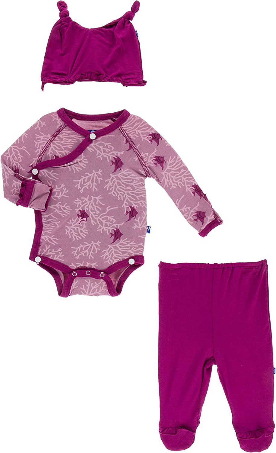 Kickee Pants Oceanography 2 Pc Natural Sea Garden Converter Layette Gown Set with Hat