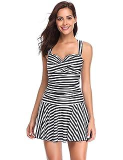 642e24ac3c4e93 LALAVAVA Dame Badekleid mit Röckchen Effekt Schwimmanzug Figurformender  Badeanzug Einteiliger Badeanzug