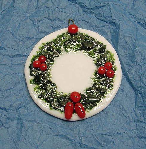 Amazon Com Holly Berry Wreath Handmade Fused Glass Christmas