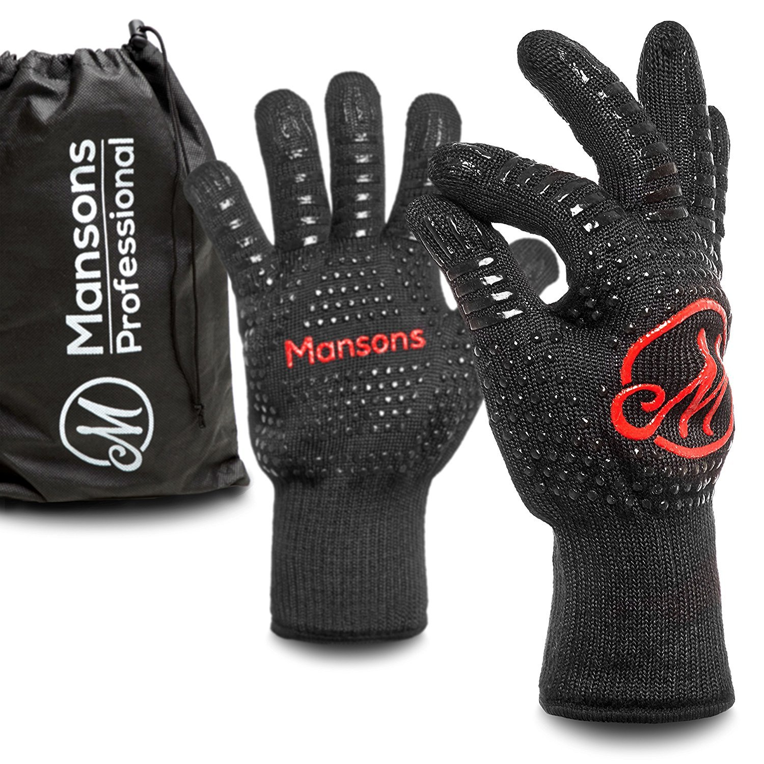 Premium barbecue and oven gloves with storage bag, up to 500 °C, 1 pair up to 500 °C 1 pair MANSONS