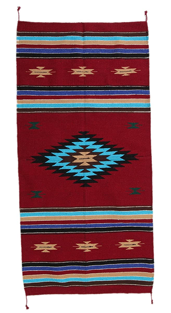 El Paso Designs Hand Woven Southwest Accent Rug 20 x 40 inch- Hand-Crafted Native American Style Accent Rug Tapestry