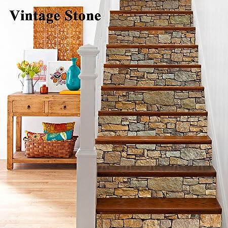 6 Unids/Set 3D Autoadhesivo Vintage Piedra Escalera Pegatinas Calcomanías Creativas Decorativas DIY Pasos Pegatinas Extraíble Escaleras para La Sala De Estar Decoración: Amazon.es: Hogar