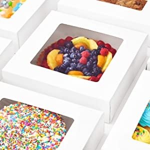 Super Elegant, Pro-Style 10in Bakery Box 25 Pk. Grease-Resistant 10x10x2.5 White Pastry Boxes with Window. Perfect for Desserts, Cakes, Cookies, Pies, Donuts. Great Gift Idea for Cute Homemade Treat