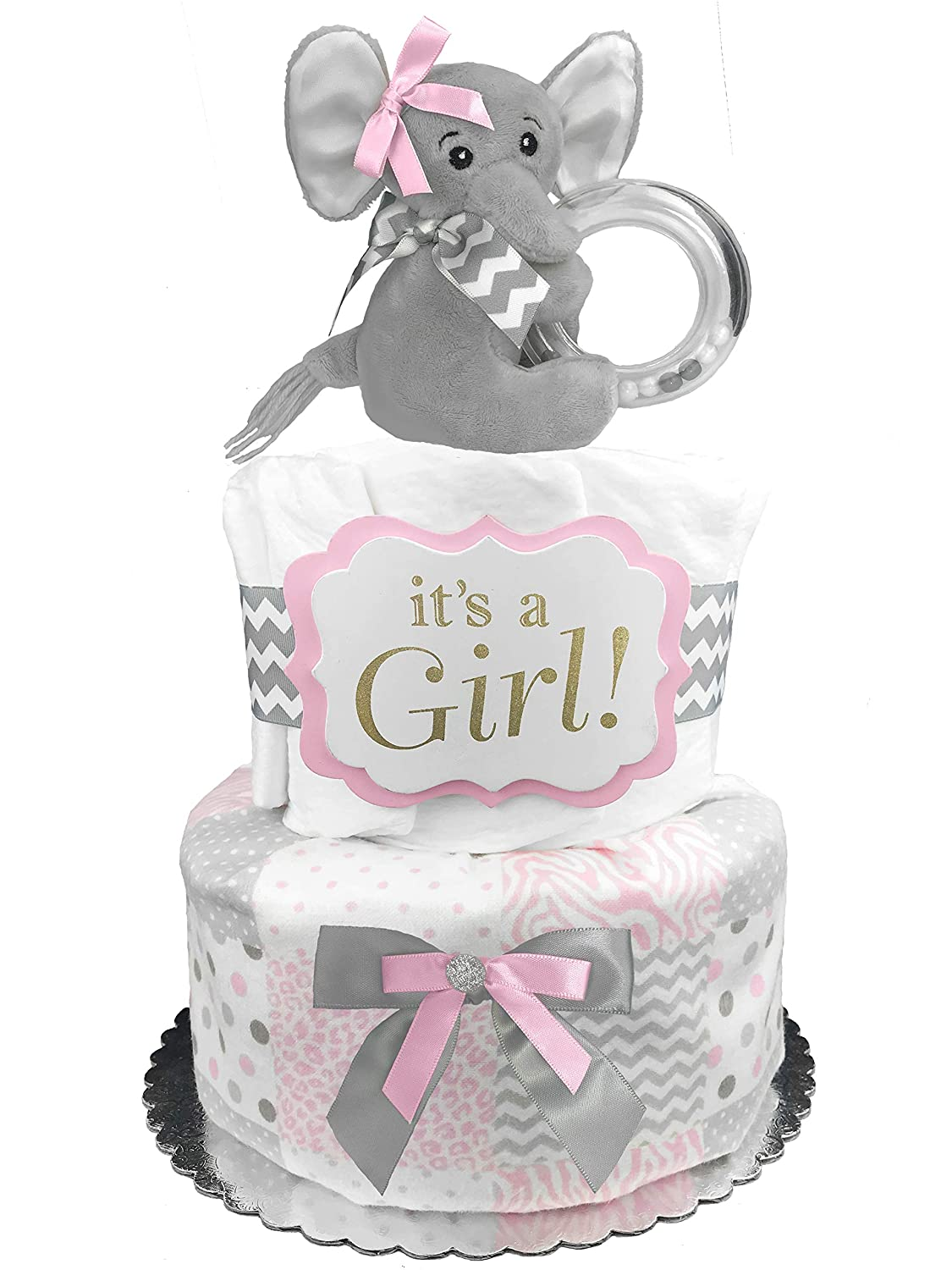 Amazon Com Elephant Diaper Cake It S A Girl Baby Shower Gift