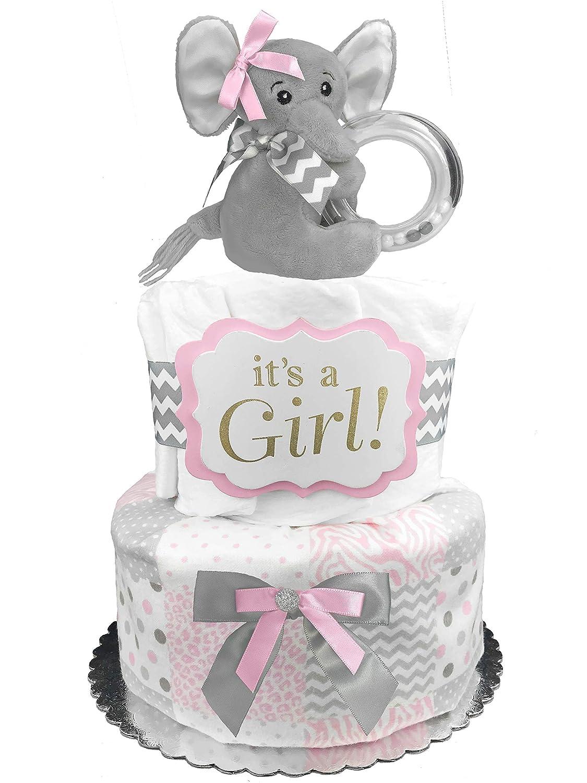 Pink Elephant Theme Diaper Cake Baby Girl Baby Shower Cake 2 Tier Diaper Cake