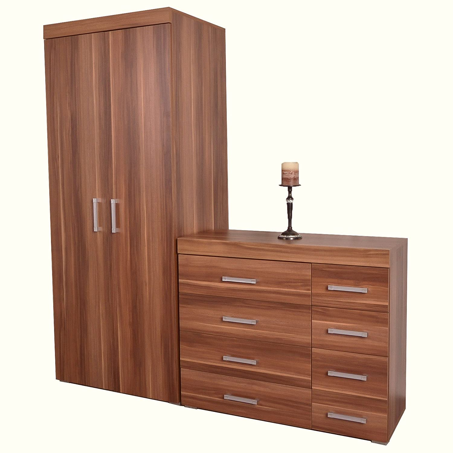 DP 4+4 Drawer Chest Drawers & 2 Door Wardrobe Walnut Effect Bedroom Set