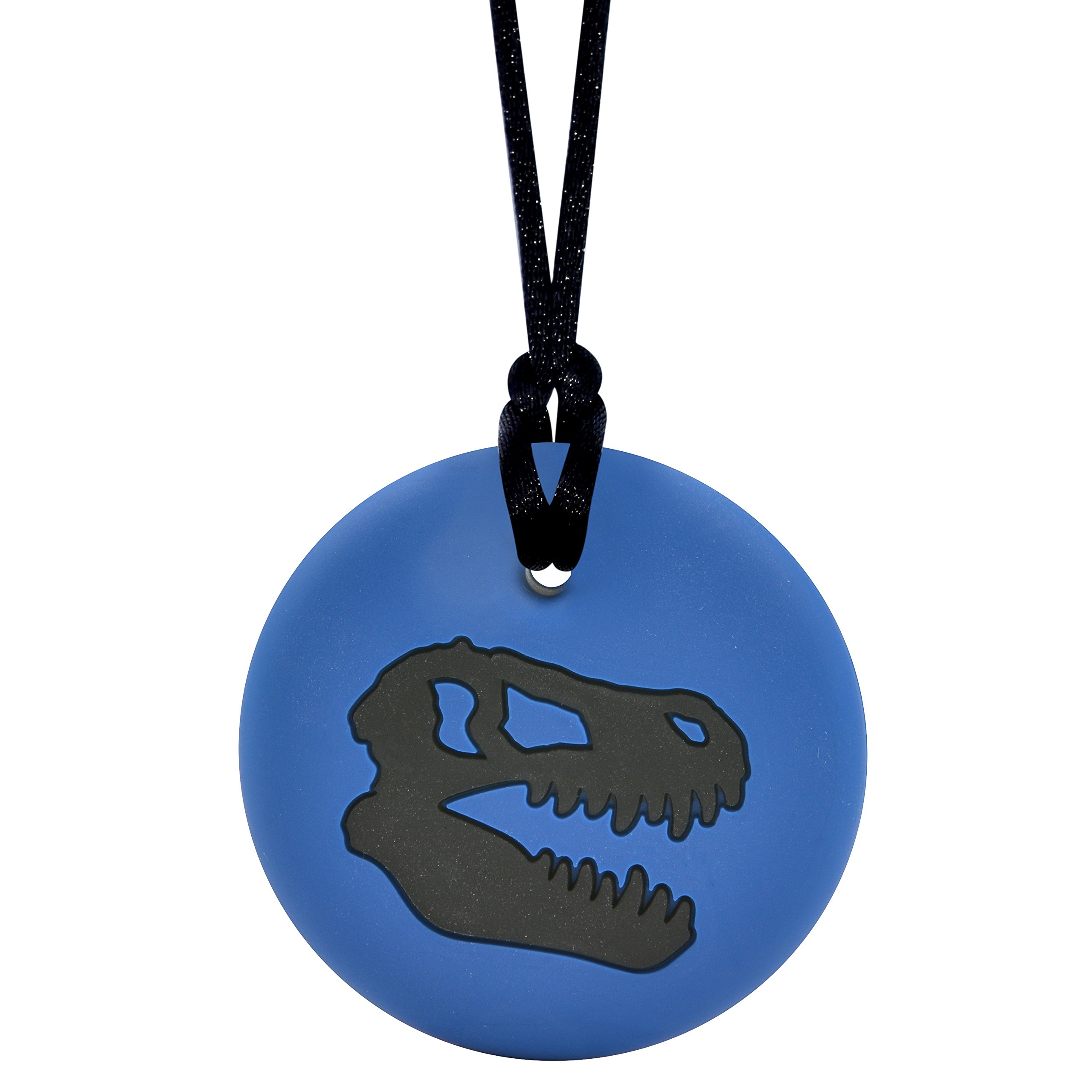 Dinosaur Skull Sensory Chewelry - Munchables Chew Necklace (Navy/Black)