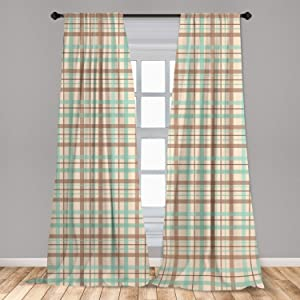 Ambesonne Plaid 2 Panel Curtain Set, Scottish Country Style Tartan with Abstract Design Diagonal Striped Lines, Lightweight Window Treatment Living Room Bedroom Decor, 56