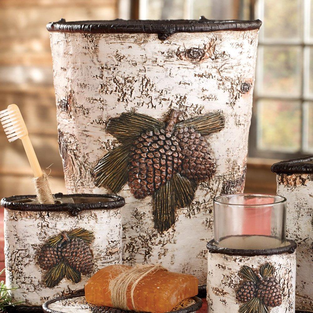 BLACK FOREST DECOR Pinecone & Birch Waste Basket