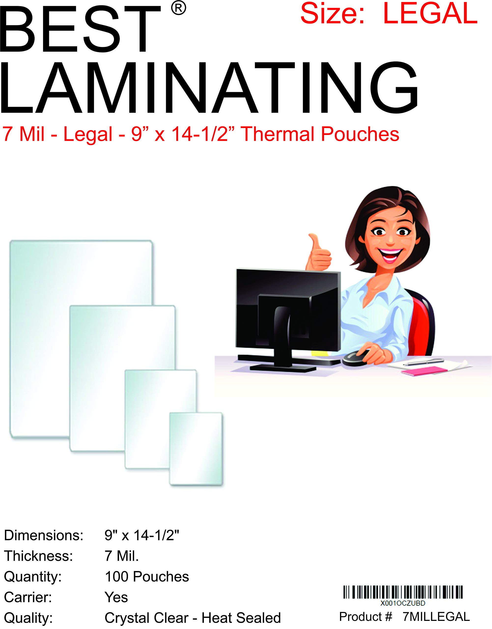 Best Laminating® - 7 Mil Clear Legal Size Thermal Laminating Pouches - 9 X 14.5 - Qty 100 by Best Laminating®