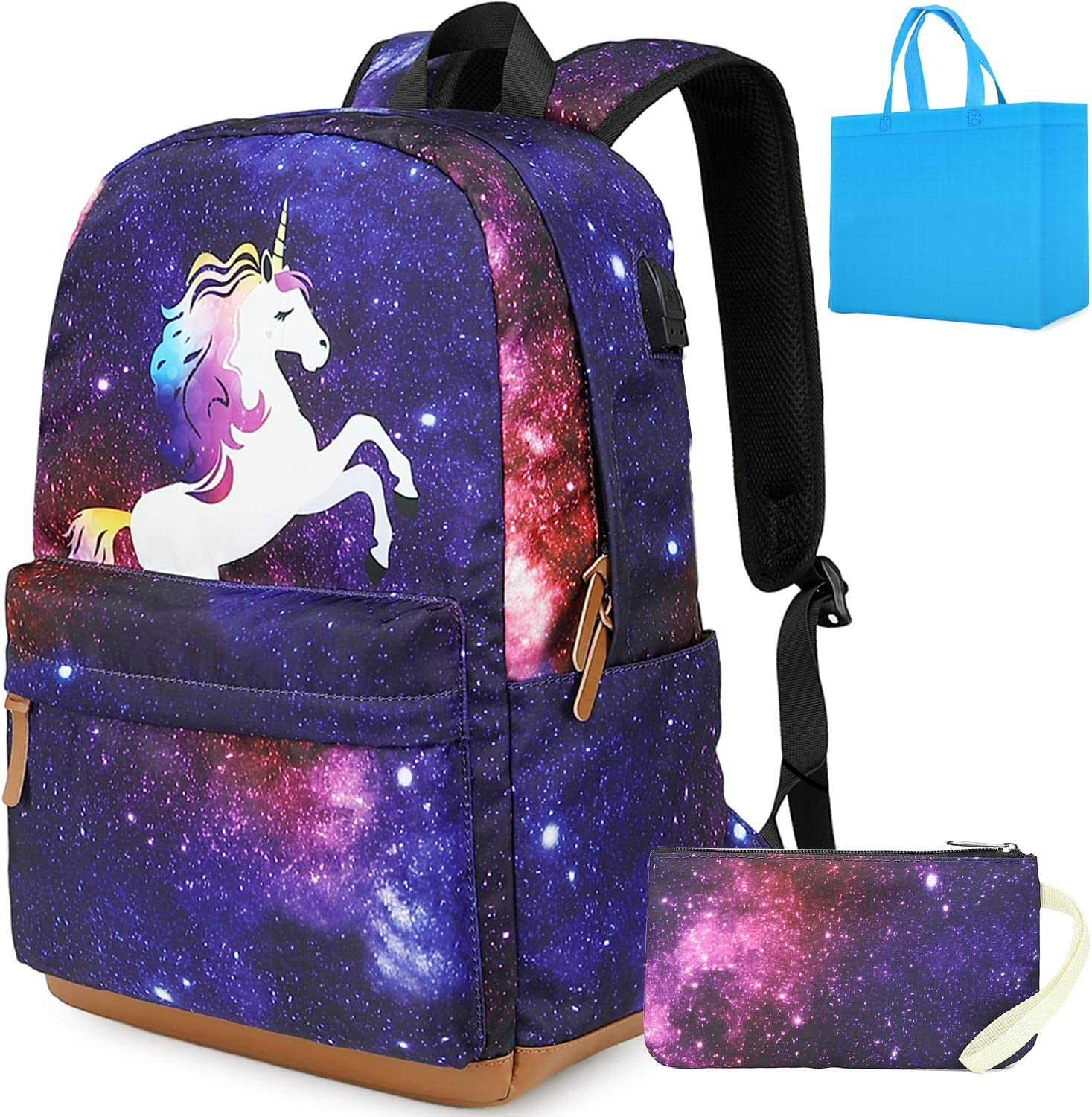 School Backpack Unicorn Laptop Bookbag with USB Charging Port Computer Backpacks Travel Camping Daypack School Bag fit 15.6 inch Laptop (Purple)