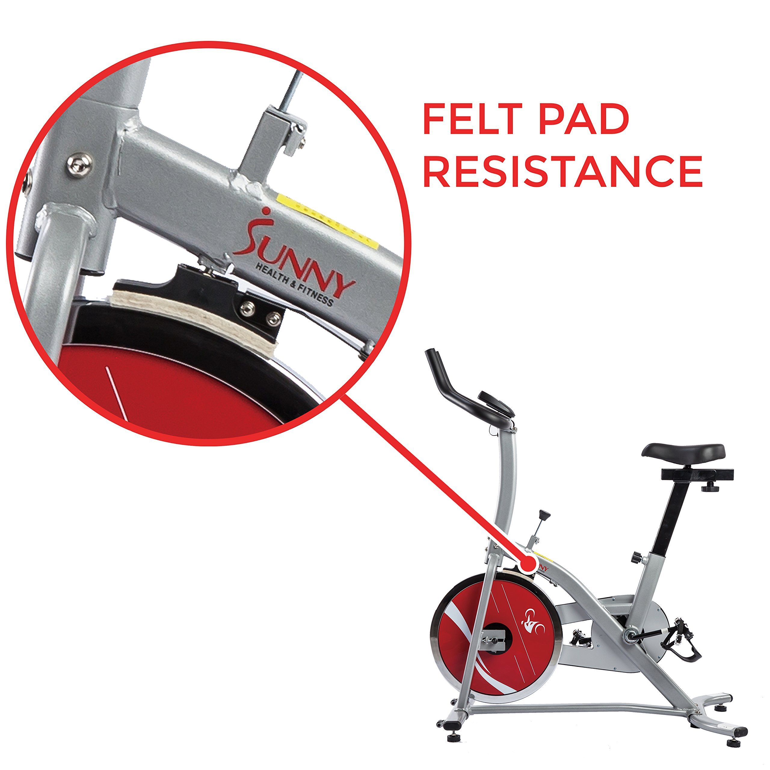 Sunny Health & Fitness Indoor Cycling Exercise Stationary Bike with Monitor and Flywheel Bike - SF-B1203 by Sunny Health & Fitness (Image #5)