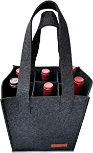 6 Bottle Wine Carrier Tote Reusable Grocery Bags for Travel, Camping and Picnic, Perfect Wine Lover Gift