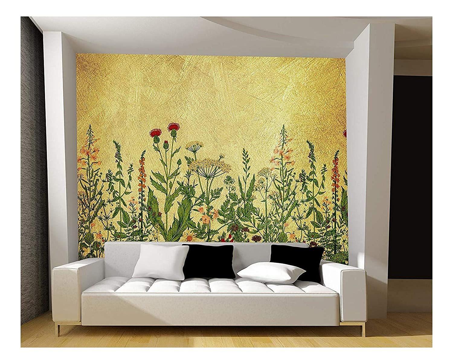 Large Wall Mural Various Flowers on Golden Textured Background Vinyl ...