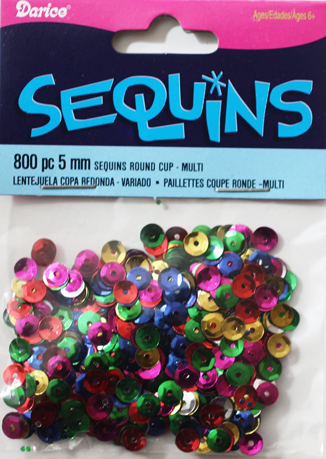 BULK CRAFT SEQUINS 5mm cup ~ Asstd MIXED COLORS ~ 9600 pieces 12 packs, 800 per