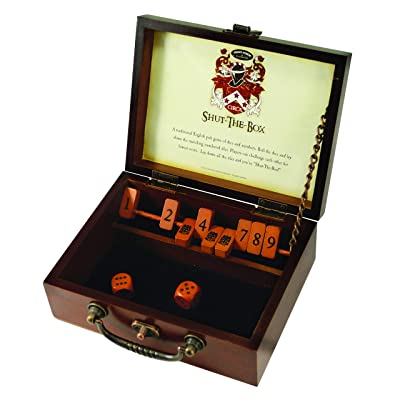 Front Porch Classics Circa Shut-the-Box, Wooden 9 Number Dice Game with Case for Travel, for Adults and Kids Ages 8 and Up: Toys & Games
