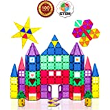 Playmags 3D Magnetic Blocks for Kids Set of 100 Blocks to Learn Shapes, Colors, & Alphabet STEM Magnetic Toys Develop…