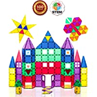 Playmags 3D Magnetic Blocks for Kids Set of 100 Blocks to Learn Shapes, Colors, & Alphabet STEM Magnetic Toys Develop Motor Skills&Creativity-Colorful, Durable Magnet Building Tiles & Idea Book