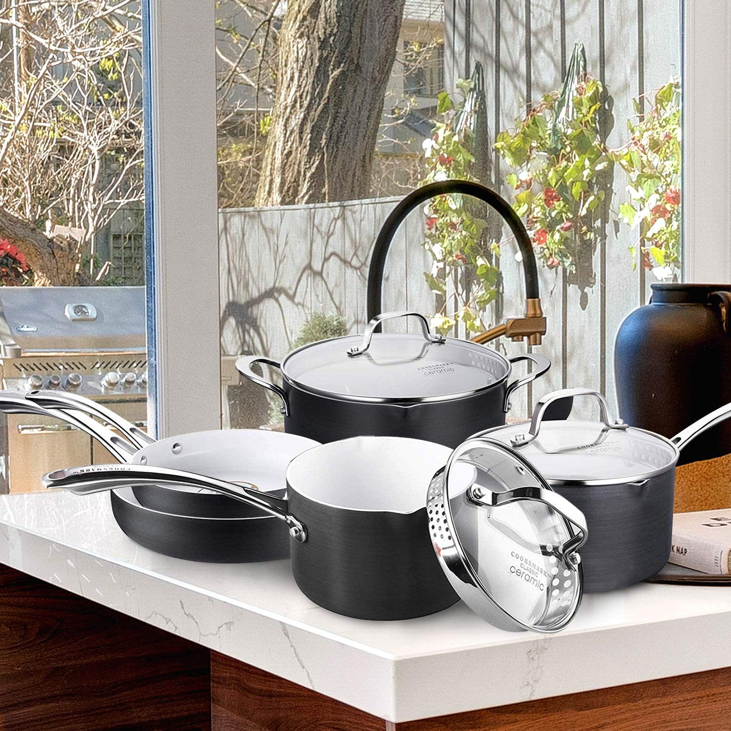 AMERICOOK Black Pots and Pans Set, 8 Piece Hard Anodized Cookware Set – White Ceramic Nonstick, Aluminium Saucepans with Sturdy Glass Lids, Straining Lids and Pour Spouts and Stainless steel Handles