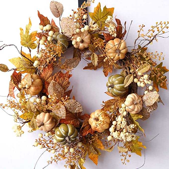 idyllic Artificial Pumpkins Wreath Autumn Wreath with Green and Yellow Leaves Flower Wreath for Front Door Indoor Wall Wedding Home Decoration