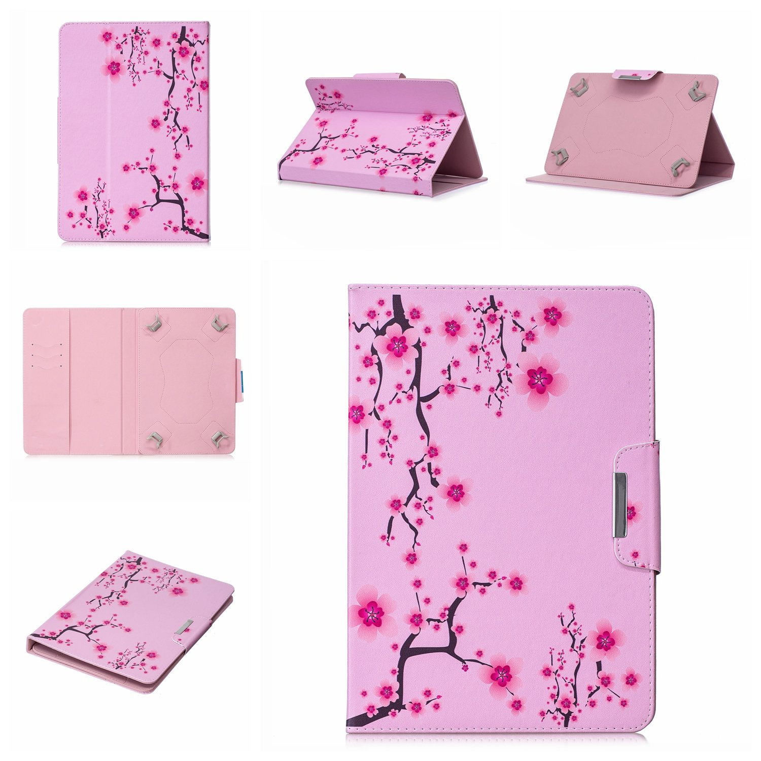Uliking Universal Folio Case for 9-10.1 inch Tablet, PU Leather Card Slots Stand Cover for 10'' 9''-10.1'' Touchscreen Android ASUS,Acer,RCA,Dell,HP,Lenovo,Samsung,Apple,ECT, Pink Flower