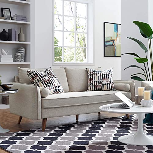 Modway Revive Contemporary Modern Fabric Upholstered Sofa In Beige