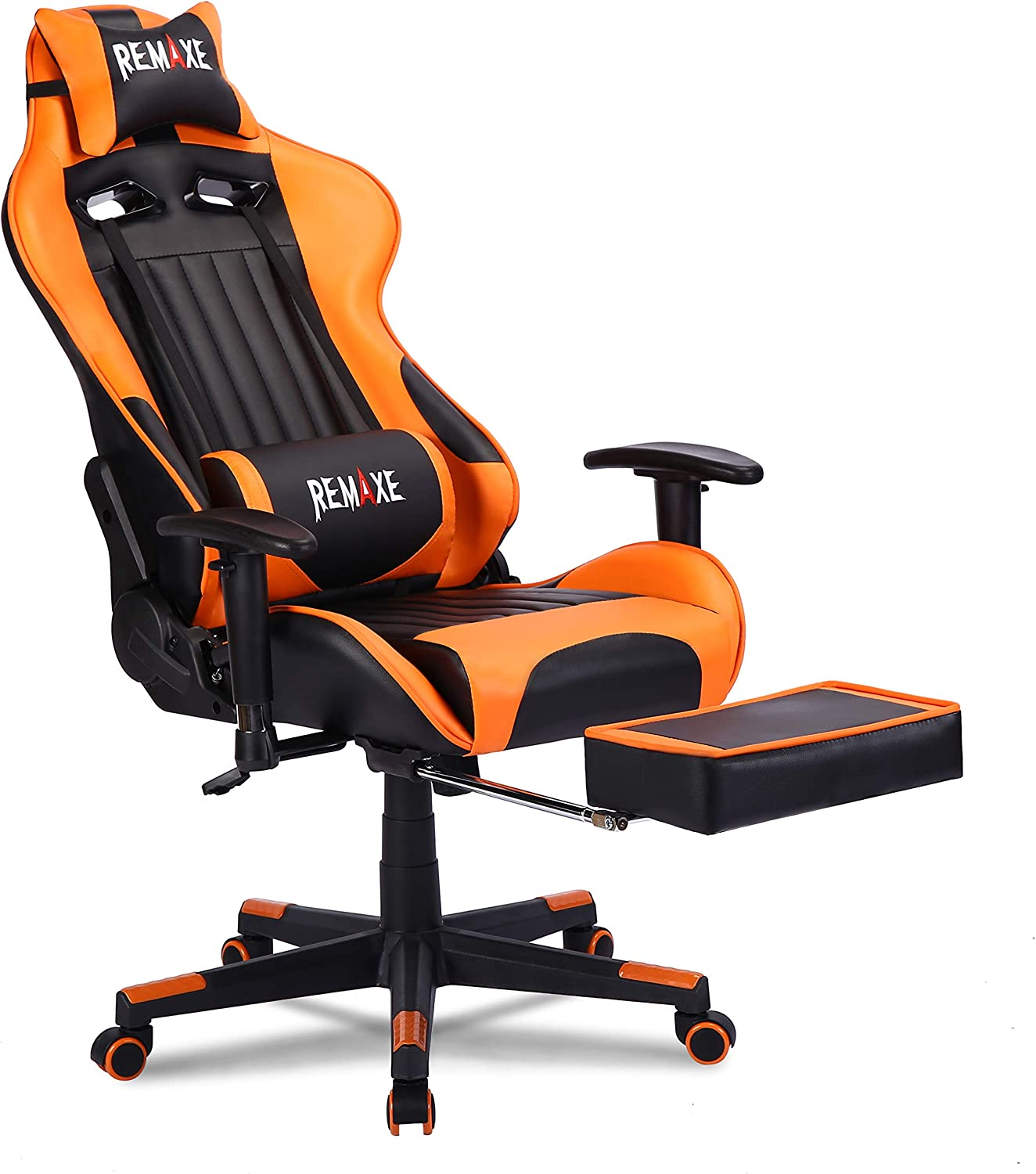 Gaming Chair with Footrest,Computer Gaming Chair High-Back Racing Chair,PU Leather Executive Office Chair with Headrest & Massage Lumbar Pillow,Orange