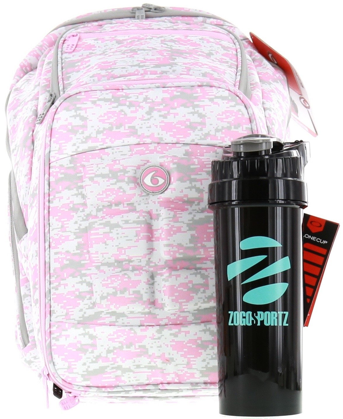 6 Pack Fitness Expedition Backpack W/ Removable Meal Management System 500 Pink & Grey Digital Camo w/ Bonus ZogoSportz Cyclone Shaker by 6 Pack Fitness (Image #1)