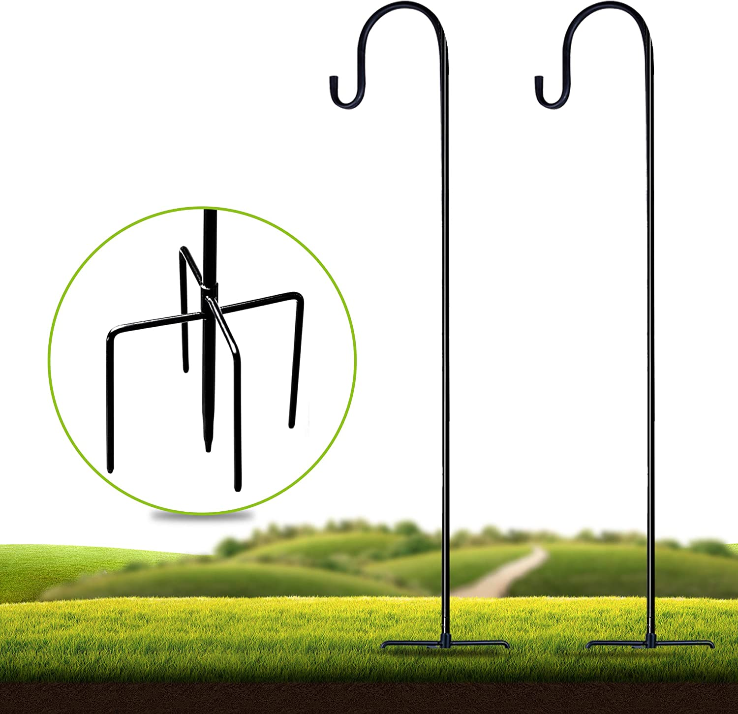 Shepherd-Hooks Adjustable for Bird-Feeder Lantern Plant-Hook Garden-Stake - 36 Inch 21 Inch 51 Inch 2 Pack Plant Stand Hanger for Outdoor Flower Basket, Bird Feeder Hanger Weddings Decor