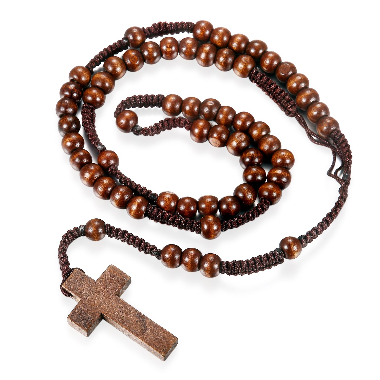 Flongo Mens Womens Vintage Religious Cross Wooden Beads Rosary