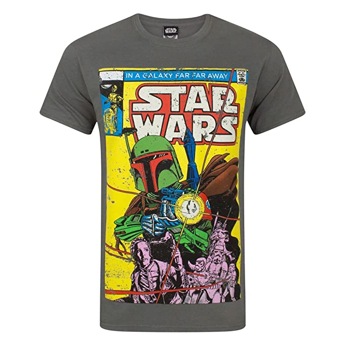 8f347f9df Official Star Wars Boba Fett Comic Men's T-Shirt: Amazon.co.uk: Clothing