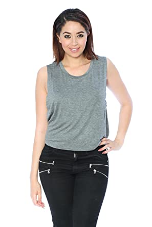 8d489052b7c Women s Sleeveless Scoop Neck Muscle Cropped Tank Top (Large ...