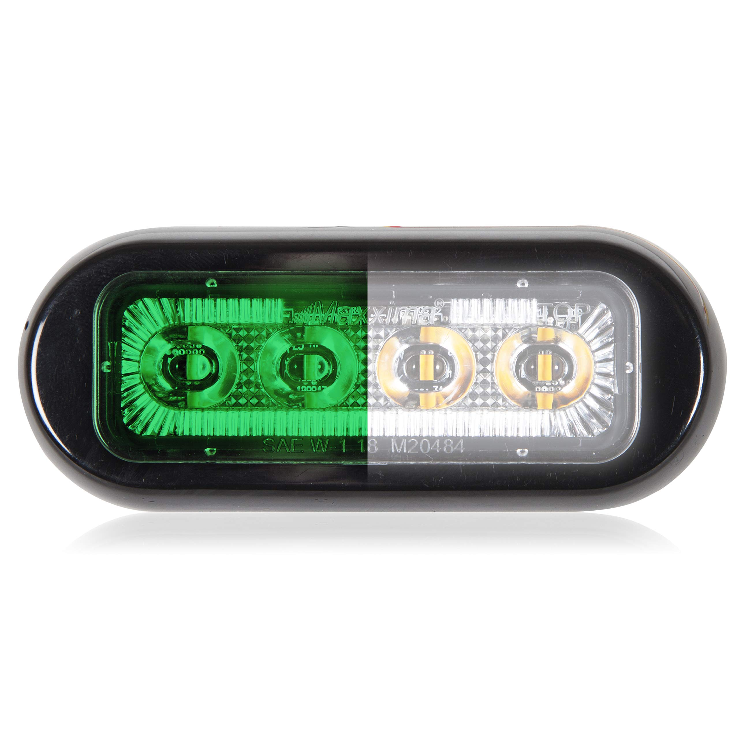 Maxxima M20484GWCL 4 LED Rectangular Surface Mount Warning Green/White Clear Lens