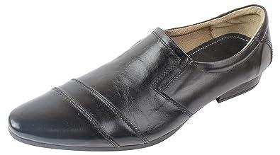beba072526 KHAN Men's Black Leather Formal Loafers - 10 UK: Buy Online at Low ...