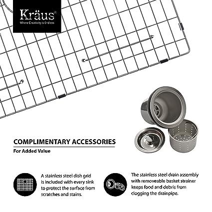 Kraus khf200 - 33-kpf1612-ksd30ch 33 pulgadas granja individual cuenco fregadero de cocina de acero inoxidable con acabado cromado grifo de la cocina y ...