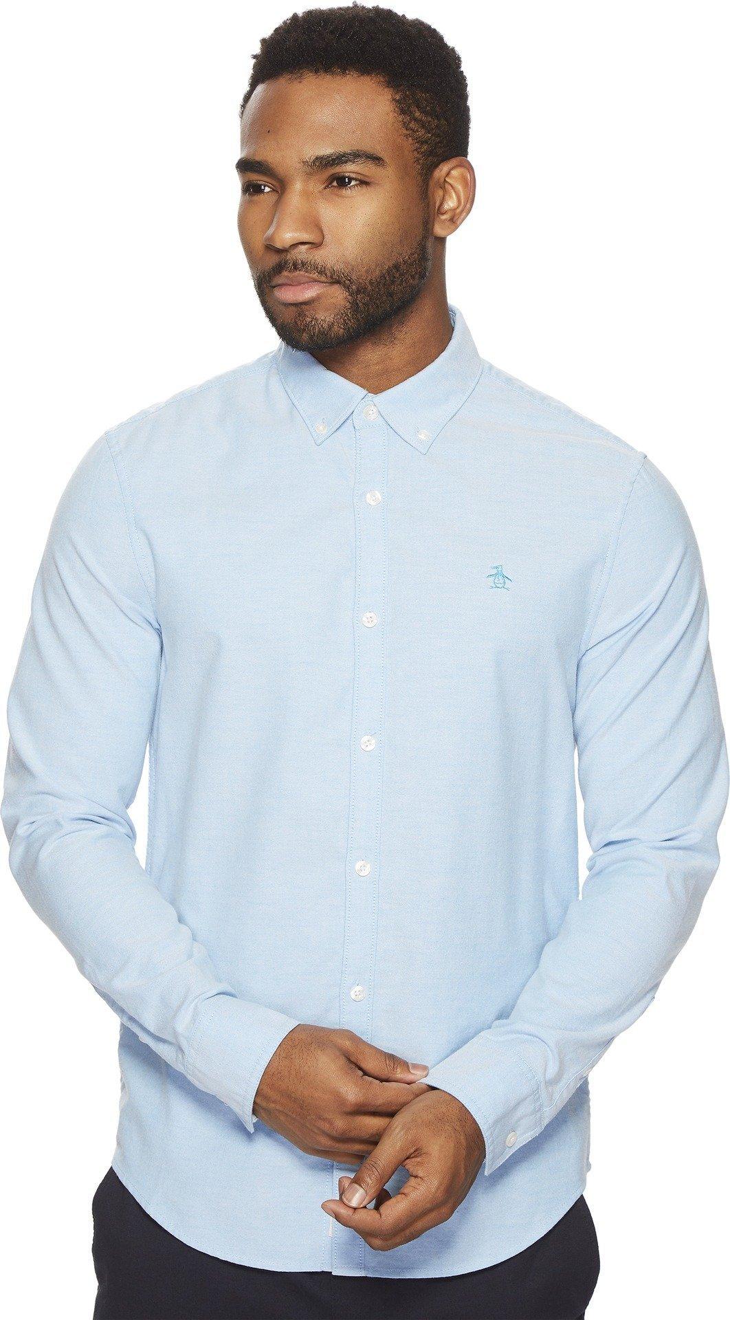 Original Penguin Men's New Long Sleeve Oxford Stretch Shirt, Dresden Blue, Extra Large