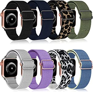 OMEE 8 Pack Stretchy Nylon Solo Loop Bands Compatible with Apple Watch 44mm/40mm/38mm/42mm, Adjustable Stretch Braided Sport Elastics Women Men Strap for iWatch Series 6/5/4/3/2/1 SE(38/40mm)