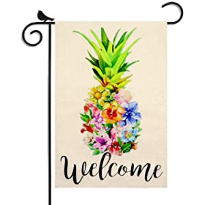 WEYON Colorful Pineapple Welcome Garden Flag Double Sided Small Vertical Outside Yard Flags for Floral Summer Dceor (12.5X18 Inch)