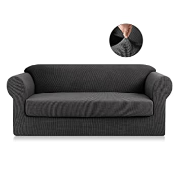 Enjoyable Symax Polyester Fabric Sofa Covers Seat 2 Pieces Jacquard Chair Slipcovers Couch Pet Furniture Protector For Reclining Loveseat Grey Ocoug Best Dining Table And Chair Ideas Images Ocougorg