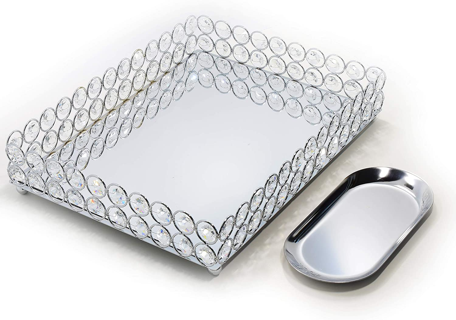 Lindlemann Mirrored Crystal Vanity Tray Ornate Decorative Tray For Perfume Jewelry And Makeup Rectangle 12 X 9 Inches Silver Amazon Ca Home Kitchen