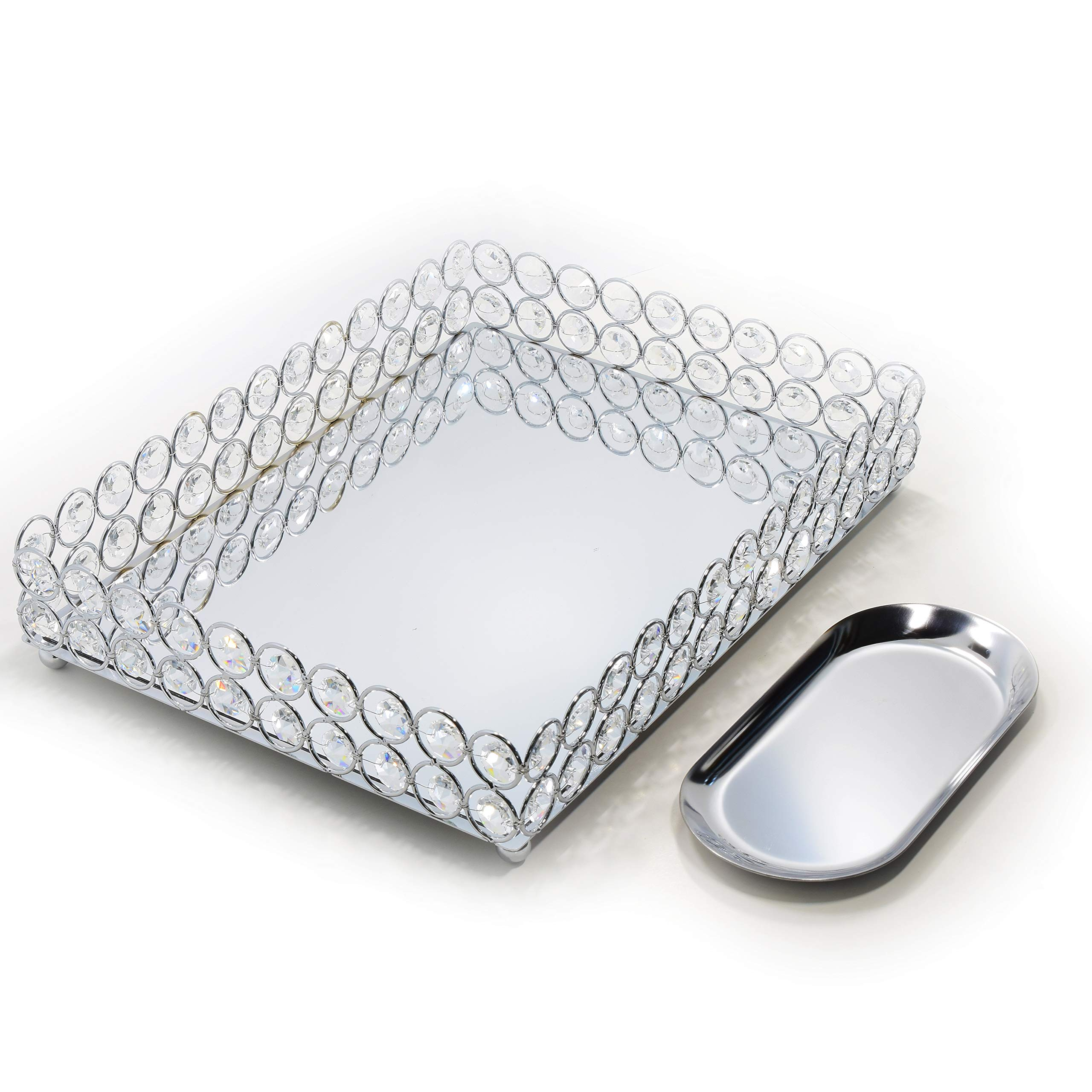 Lindlemann Mirrored Crystal Vanity Tray - Ornate Decorative Tray for Perfume, Jewelry and Makeup (Rectangle 12 x 9 inches, Silver) by Lindlemann